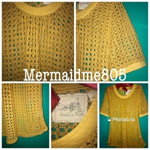 Anthro Angel Of The North Mustard Gold Crochet Top
